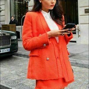 Zara Orange Tweed Gem Button Blazer!!